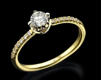0.56ct diamond ring, engagement ring, diamond gold ring, crown ring, prong ring, pave ring