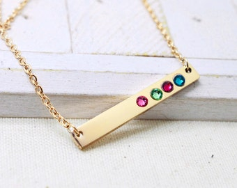 Valentines Gift for Her, Gold Bar Birthstone Necklace, Gift for Wife, Custom Bar Necklace, Skinny Bar Necklace, Mommy Jewelry, Gold Necklace