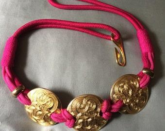Vintage Belt Three Golden Celtic Design Circles Fushia and Pink Ornate