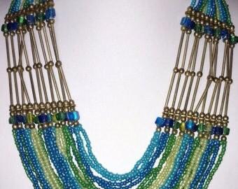 Vintage Blue Czech Glass Seed Bead Necklace, Brass, Adjustable, Egyptian Style