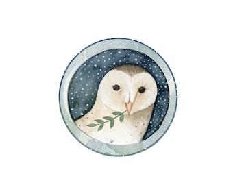 Winter Barn Owl Pocket Mirror Handmade Jewellery Accessories Gift For Her Present Stocking Filler