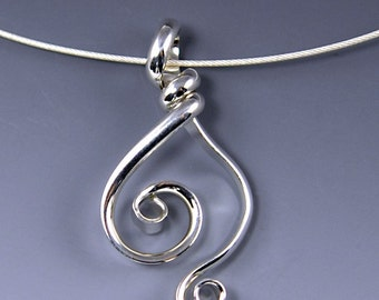 Argentium Double Spiral Pendant, Sterling Silver Spiral Kelly Necklace, Silver Double Spiral Necklace SN3