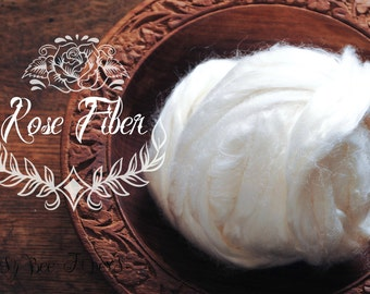 ROSE FIBER - Undyed Combed Top Cellulose Vegan For Spinning, Felting, Carding