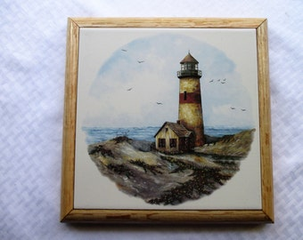 Lighthouse, trivet, wall hanging, tile trivet, decorative tile, hot plate, wall art, tile mural, lighthouse, ocean, beach, wall decor