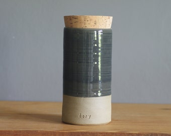 Cremation urn, straight modern urn. custom name urn for human ashes or use as pet urn. corked urn.