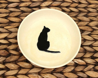 Ceramic CAT Bowl - Food Water Bowl - Handmade Cream Stoneware Bowl - Black Cat Silhouette - Ready To Ship
