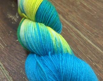Hand Dyed Superwash Merino Nylon Sock Yarn, 100g/3.5oz, 'Jazz'