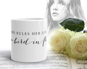 Stevie Nicks Elegant Rhiannon MUG, Boho Tea Mug, Pretty Coffee Mug, Ceramic Inspirational Quote Mug, Calligraphy Wedding Mug, Gifts for Her