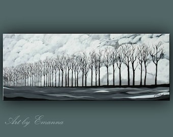 """SALE, Original Landscape Painting, Black and White Trees Painting, Acrylic painting, Modern Wall Art 20""""x48"""" Ready to Hang"""