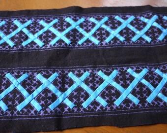 Indigo Batik Hmong textile - asian tribal textile - indigo cotton batik with some applique - new textile