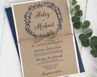Rustic Kraft Wedding Invitation, Modern Rustic Wedding Invitation, Navy Wedding Invitation, Simple Invitation, blue