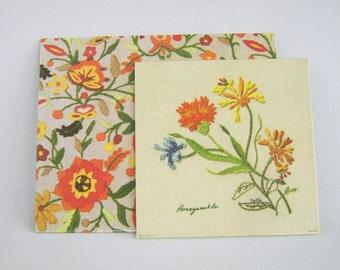 Vintage Kitchen Trivet Hot Pad Set 70s Floral Wallhanging