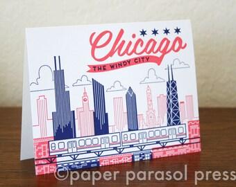 Chicago City Love Letterpress Printed Card