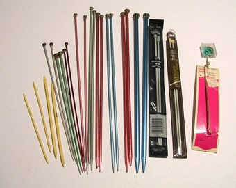 Vintage Knitiing Needles , Eleven Pairs Plus Extras