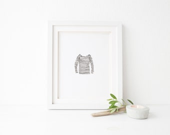 Black and White Stripe Shirt - Watercolor - Digital Wall Art