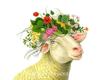 Sheep art print by Fiammetta Dogi 8x10 - Home decor - Illustration - Animal art