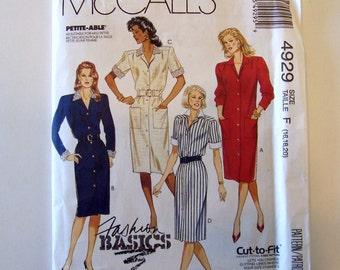 Women's Dress Sewing Pattern McCall's 4929 Sizes 16, 18, 20 - Dress Pattern, McCall Pattern, Woman's Sewing Pattern
