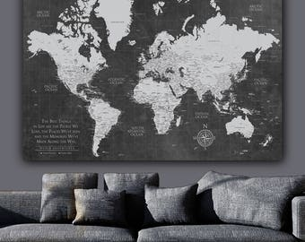 Current Push Pin World Map ONE Panel/Gallery Wrapped Art, World Map Canvas, Push Pin Map, Large Wall Art, Travel Gifts, Mothers Day Gift