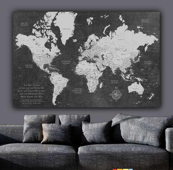 Current push pin world map personalized 1 panel canvas custom gumiabroncs Images