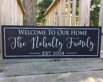 Welcome to Our Home-Welcome Sign-Signs for the Home-Bridal Shower Gift-New Home Housewarming Gift-New Homeowners-Gifts for New Home-Wooden