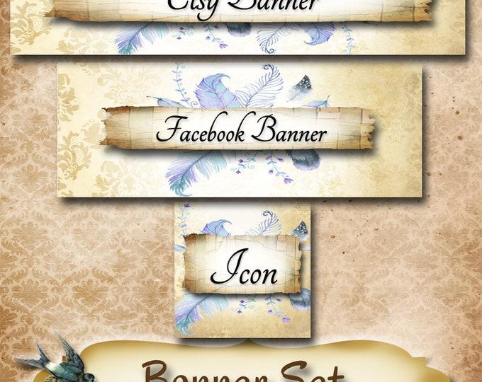 Custom SHOP BANNER Set•Facebook Cover•Denim Feather Design