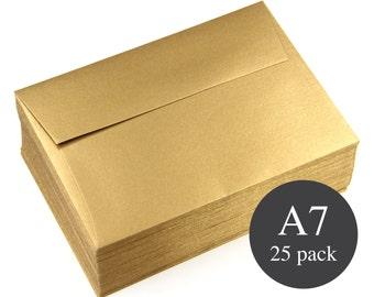 25 - A7 Gold Envelopes - Gold Metallic Straight Flap Envelopes  - Antique Gold  - 5 1/4 x 7 1/4