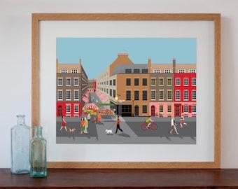 Brick Lane, London Street Scene with Market Art Print