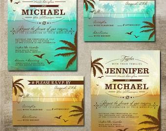 Beach Wedding Invitation Suite Destination Wedding Tropical Wedding Printable Wedding Invitations Palm Trees Tropical Invite Scenic Ocean