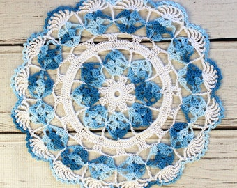 """Crocheted White Shaded Variegated Blue Table Topper Doily - 10 1/2"""""""