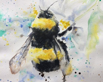 Bumble bee print -  watercolour painting - Giclee print - bee - wall art - modern - A4 & A3