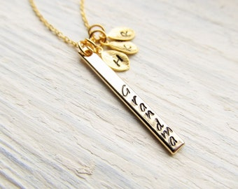 Grandma Gift, Necklace for Mother's Day from Grandkids, Personalized Grandmother Jewelry, Gold Bar with Initial Charm, Necklace for Grammy