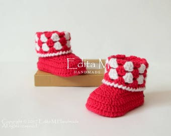 Crochet baby booties, baby girl booties, baby boots, baby shoes, 0-3, 3-6, 6-9 months, knitted, gift for baby, baby shower, announcement