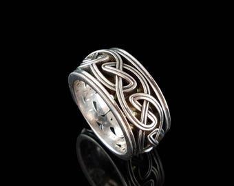 DROGHEDA Celtic Knot Wedding Band Open Weave Sterling Silver