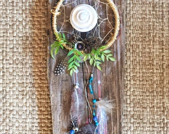 OOAK dreamcatcher vintage bohemian key holder plaque by Angela Anderson