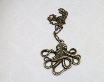 steampunk octopus Octopus necklace bronze
