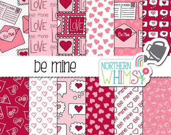 """Valentine's Digital Paper - """"Be Mine"""" - pink and red envelope, heart, stamp & valentine seamless patterns - scrapbook paper - commercial use"""