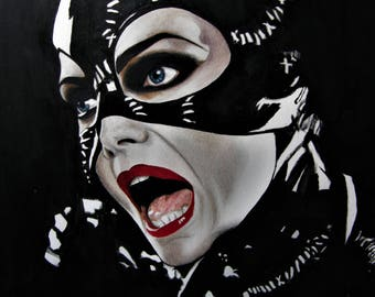 """Mixed media."""" Catwoman"""". Acrylic and water-based lead pencil. Heavyweight (200 gr/m2) paper"""