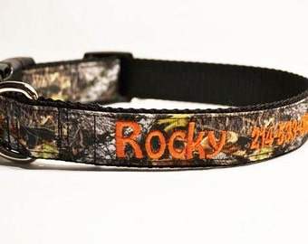 """Personalized Dog Collar / Tree Camo / Pets / Adjustable Dog Collar / Made to order / 1"""" Wide"""