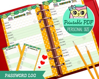 PRINTABLE Personal Size Password Log Trakcer Cute Owl Refills for Filofax Organizer Instant Download