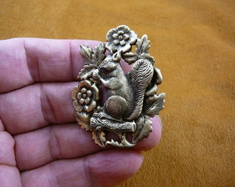 Squirrel with acorn nut I love squirrels lover flowers brass pin pendant repro Victorian brooch B-squir-3