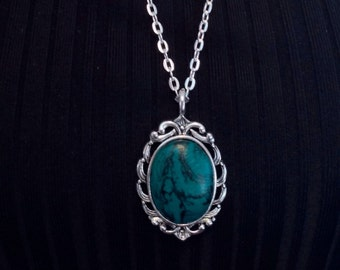 Polymer Clay Necklace- Jewelry - Boho Chic - Gypsy - Western -Faux Gem / Stone Turquoise Teal Silver Tone Pendant