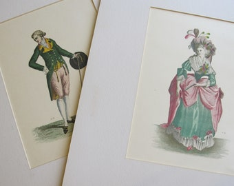 18th Century Fashion Plates Set of 2. Lady & Gentleman Fashions from the 1700's. by SZL. Colored Etchings. Antique Age. Boudoir Shabby Chic