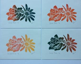 Summer Flowers, Handmade Original Lino Cut Print, Signed Open Edition Print, Flower Prints