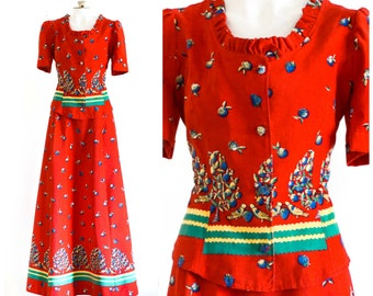 Red two piece corduroy novelty print outfit with tailored top and long skirt