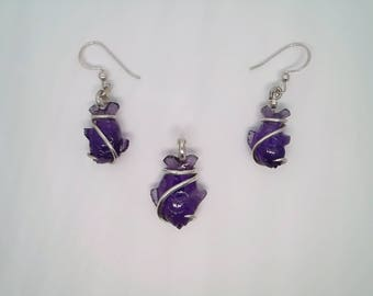 Amethyst Fish Sterling Silver Hand Forged Art Wrap Earring and Pendant Set
