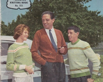 ON SALE On Sale - Paton's Knitting Pattern No 551 For Family  (Vintage 1950s)