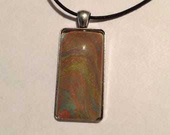 Abstract rectangle pendant necklace
