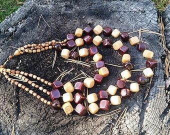 Multi Strand Necklace, Wooden Necklace,  Wood Bead Necklace, 5th Anniversary Gift