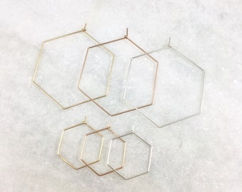 Hexagon Hoop Earrings | Gold Filled | Sterling Silver | Thin Hoops | Small Hoops | Large Hoops | Sensitive Ears | Lightweight