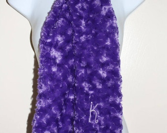 Minky Scarf Personalized - Embroidered Initial/Monogram -  Rosebud Minky Scarf - Purple and Silver